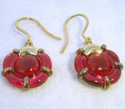 Baccarat B Flower Red Mirror Crystal Earrings in Gold Vermeil #2807675 New - $238.90