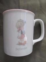 1987 Vintage Enesco Precious Moments Pink White September Coffee Mug Cup - $7.80