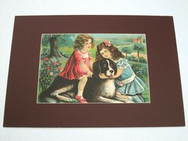 Antique 1910s Lithograph Art Print 14x10 Girls Dog Rover and His Friends... - $29.99