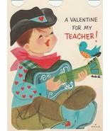 Vintage Valentine Card Cowboy with Guitar Sings for Teacher 1960's Hallmark - $8.90