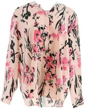 Denim & Co Printed Watercolor Floral Stretch Crepe Blouse Pink XXS NEW A... - $33.64