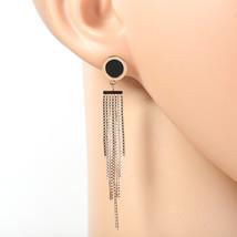 Designer Rose Tone Earrings, Black Faux Onyx Circle, Roman Numerals & Tassels - $24.99