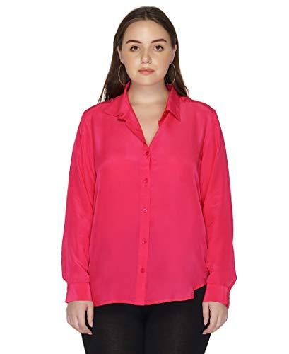 Benares Women's Button Down Shirt - Long Sleeve Viscose Shirt, Fuchsia, Plus Siz