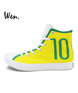 Lian football number 10 soccer hand painted canvas sneakers unisex graffiti shoes high thumbtall