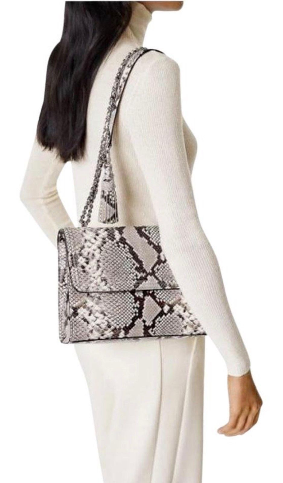 NWT Tory Burch Fleming Embossed Snake Convertible Shoulder Bag New $598 image 4
