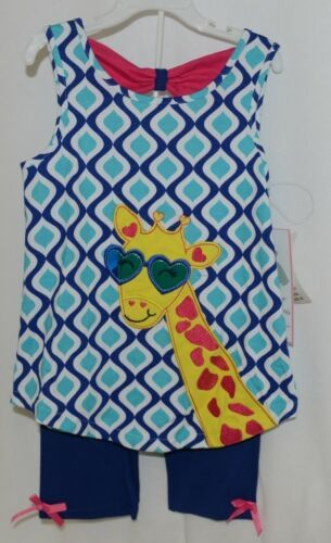 Rare Editions Giraffe Shirt Bike Shorts 2 Piece Set Royal Blue Size 6X