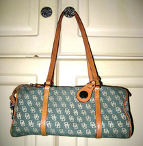 AUTH DOONEY & BOURKE Satchel Blue Canvas Handbag Vintage  - $39.59
