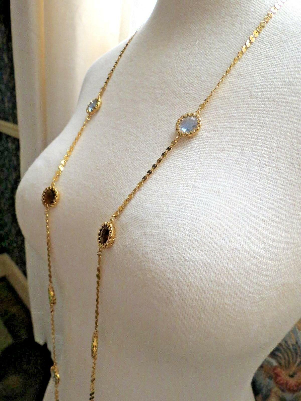 """Robert Verdi Bezel Set Crystal Necklace Gold Plated Links 46"""" Cushion Designer image 4"""