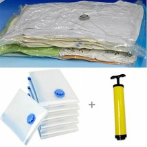 7pcs/set Vacuum Bag With Hand Pump Storage Home Organizer Transparent Bo... - £23.90 GBP