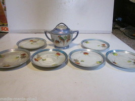 VINTAGE HAND PAINTED JAPANESE PORCELAIN LUSTERWARE 6 SAUCERS AND SUGAR B... - $9.99