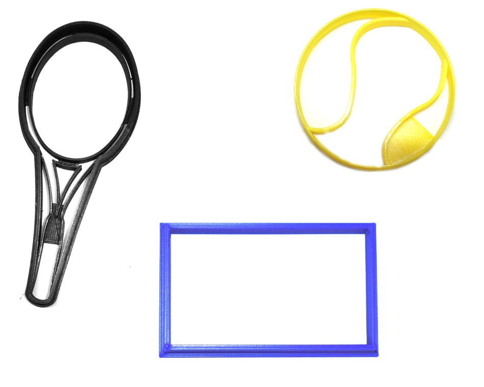 Tennis Ball Racket Court Sport Athletics Set Of 3 Cookie Cutters USA PR1373 - $6.99