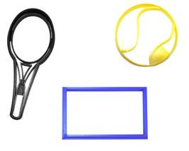 Tennis Ball Racket Court Sport Athletics Set Of 3 Cookie Cutters USA PR1373 - £5.41 GBP