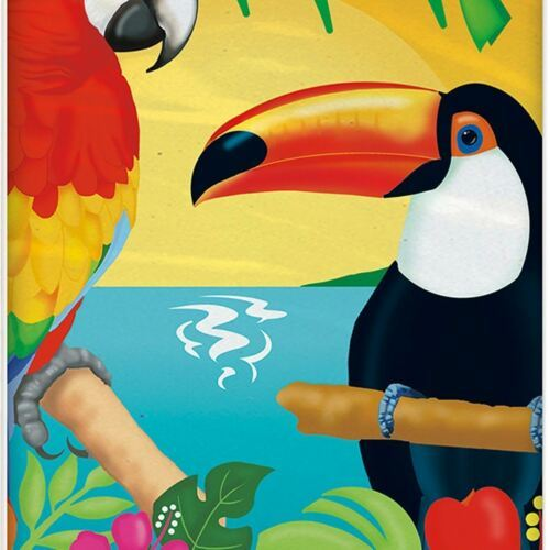 "Tropical Island Luau Party Plastic Tablecover 54"" x 84"" Parrot"