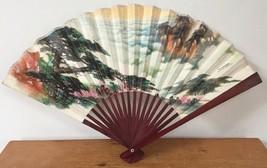 Vintage Peoples Republic China Paper Hand Folding Fan Landscape Clouds F... - $29.99