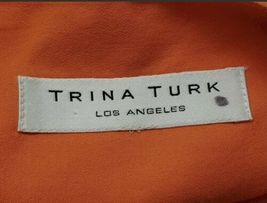 Women Trina Turk Orange Halter Summer Cotton Linen Dress Small image 4