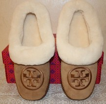 Tory Burch Coley Slipper 2 Size 7 Royal Tan Suede Shearling Embroidery Logo $195 - $143.54