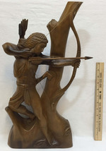 """Native American Warrior Statue Wood Carving Figurine 26"""" Bow Hunting Hunter - $98.95"""
