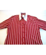 WOMEN FRED DAVID RED WHITE STRIPE CAREER SHIRT M MEDIUM - $9.99