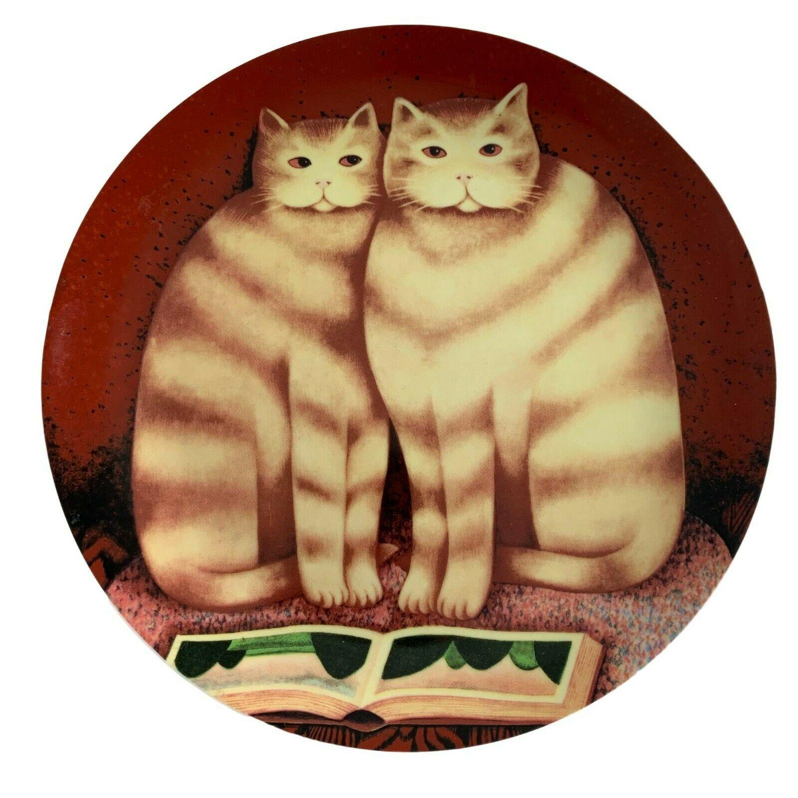 "Dept 56 Martin Leman Francesca Gordon Cat Book Plate Folkart 9.25"" Decorative - $21.78"