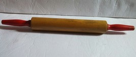 """Vintage Solid Red Handled Wooden Pastry Baking Rolling Pin 18"""" Long 10"""" ... - $19.34"""