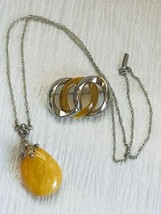 Mixed Lot of Vintage Silvertone Chain w Large Plastic Butterscotch Teardrop Pend - $29.74