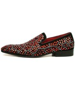 Fiesso Black Suede Red Rhinestones Formal Entertainer Slip on Shoes FI 7415 - $149.99
