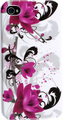 Hard Case Purple Flowers White Protector Snap On for Apple 4 & 4S Cover