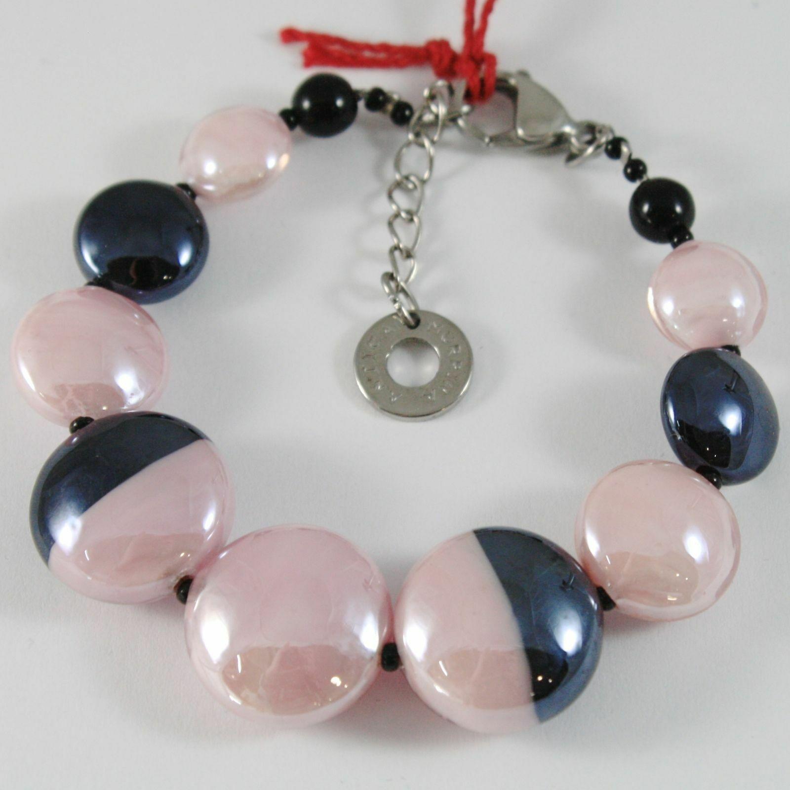 Bracelet Antica Murrina Venezia with Murano Glass Pink and Black BR759A03
