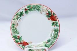 "Gibson Xmas Cardinals Pine Holly Salad Plates 7.5"" Lot of 8 - $42.13"