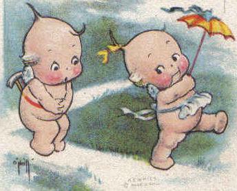 Old valentine pcard   2 kewpies   uumbrella    front