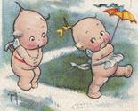 Old valentine pcard   2 kewpies   uumbrella    front thumb155 crop