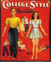 VINTAGE UNCUT 1941 COLLEGE STYLE PAPER DOLLS~#1 REPRODUCTION~NOSTALGIC/G... - $19.99