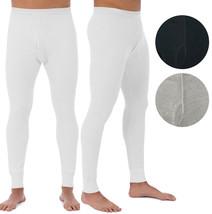 Men's Cotton Waffle Knit Thermal Underwear Pajama Stretch Sleepwear Pants image 1