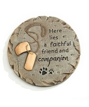 Round Memorial Pet Stepping Stone or Wall Plaque w Sentiment & Dog Tags Cement