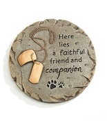 Round Memorial Pet Stepping Stone or Wall Plaque w Sentiment & Dog Tags Cement - $34.64