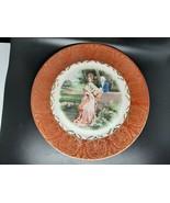 22 Karot American Cabinet Plate Burnt Orange gilt romantic couple scene ... - $20.00