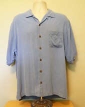 Tommy Bahama Camp Shirt L Blue Short Sleeve Casual Solid Button Up 100% Silk  - $17.34