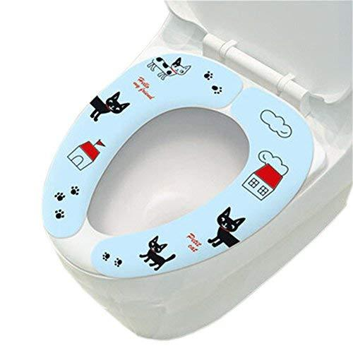 Primary image for [Cute Kitty]Healthy Sticky Washable&Portable Toilet Seat Covers(15.73.9'')BLUE