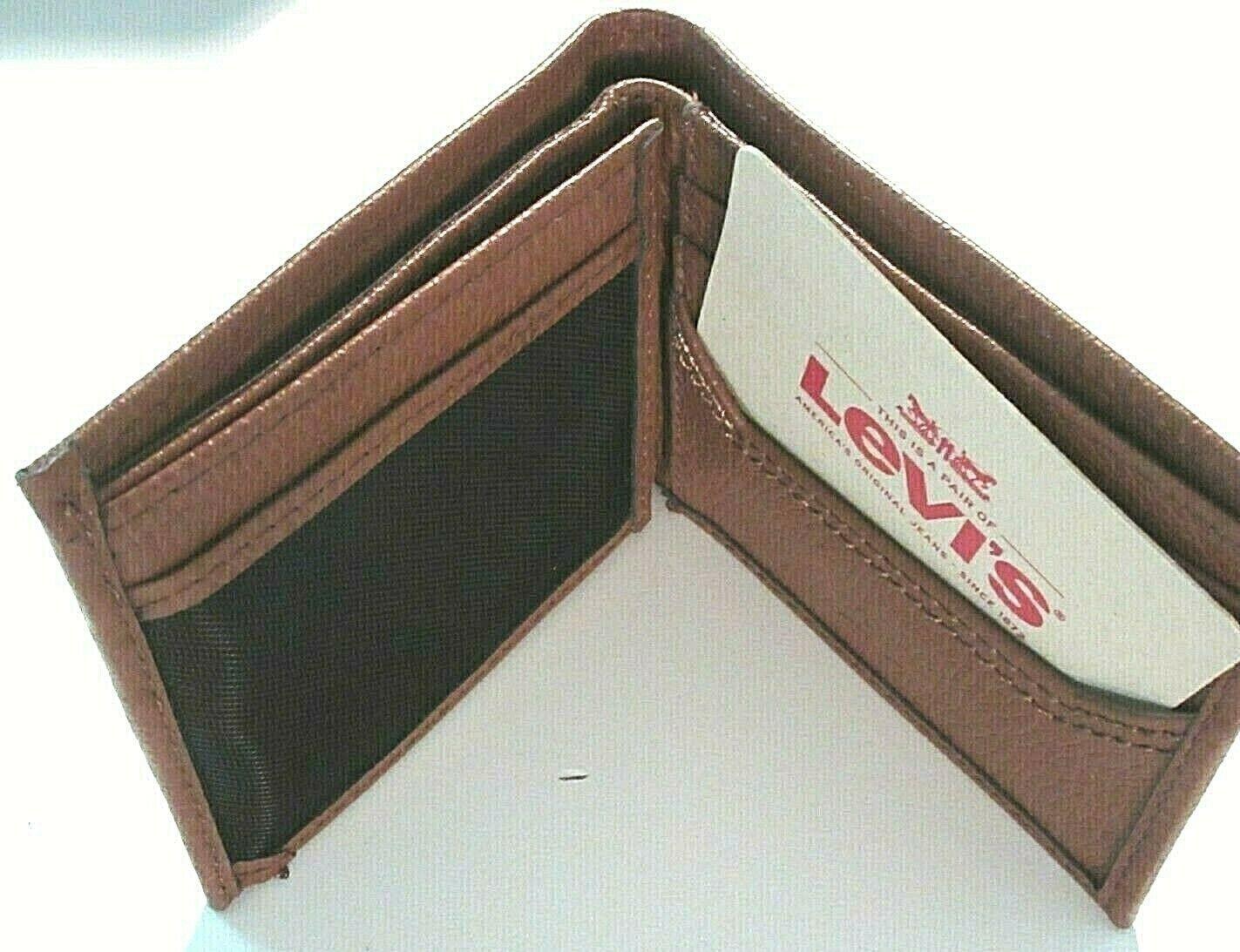 Levi's Mens Genuine Leather Slim Bifold Wallet Brown RFID NWT Ships Free  image 2