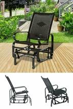 Metal Gliding Patio Chair Outdoor Garden Rattan Rocking Seat Deck Furnit... - €138,33 EUR