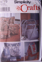 Pattern 9779 Tote Bags in 3 sizes, Backpack, Purse, Cosmetic Bag - $5.00
