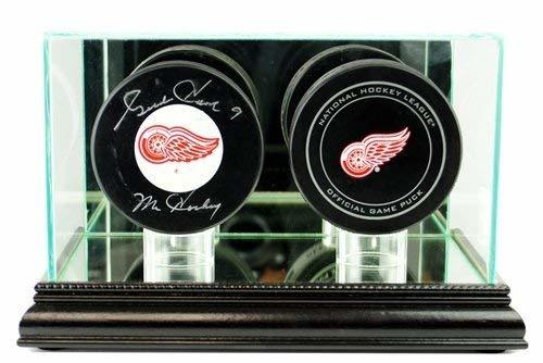 Hockey Puck Glass Double Display Case with Black Base