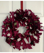"FALL COLORS - Maroon, Cream & a Splash of Sage Green 16"" Ribbon Wreath C... - $50.00"