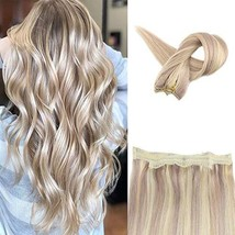 Fshine Halo Crown Extensions Remy Human Hair Color 18 And 613 Blonde Highlighted image 1