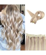 Fshine Halo Crown Extensions Remy Human Hair Color 18 And 613 Blonde Highlighted - £30.99 GBP