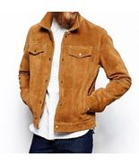 Tan color suede leather hand made custom size cowhide leather jacket thumbtall