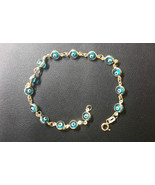 Baby Evil Eye Bracelet 14K Yellow Gold Good Luck Light Blue 4mm Crystal ... - $119.67