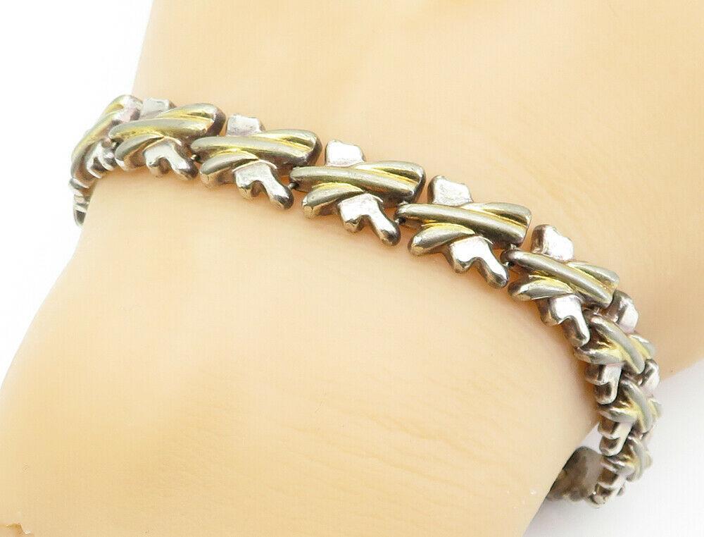 925 Sterling Silver - Vintage Two Tone X Link Chain Bracelet - B6116