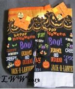 Orange & Black Jack-o-lantern Boo Halloween Kitchen Towel & Oven Mitt Set  - $5.99