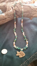 Old Mine Kingman's Turquoise Necklace,w/ Milk quartz, Fish pendant Men or Women image 4